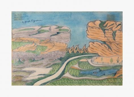 "Drawing by Joseph Yoakum titled ""Go Back Mtn near Stratford New Hampshire"" no date"