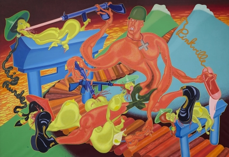 "Peter Saul, ""Pinkville"" (1970), acrylic on canvas, 90 x 131 inches (all images courtesy of Venus Over Manhattan)"