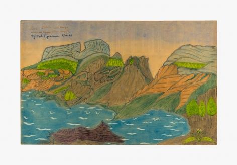 "Drawing by Joseph Yoakum titled ""Three Sisters Mountain range near McKenzie Ridge"" from 1969"