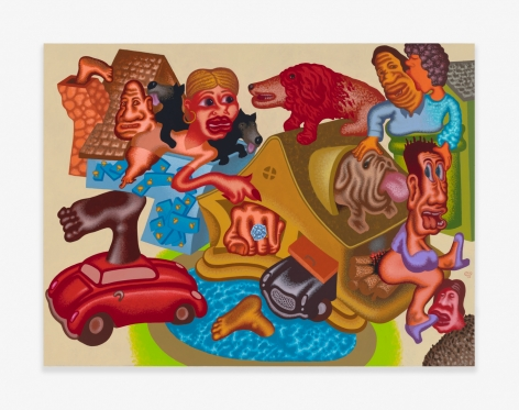 Painting by Peter Saul title Neighborhood Gossip from 2020
