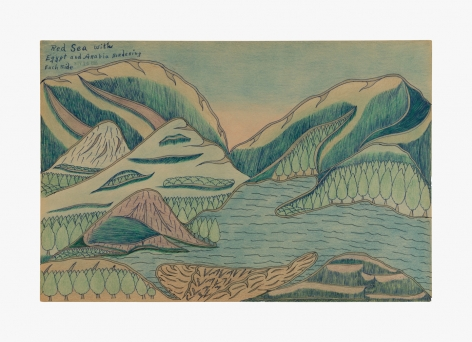 """Drawing by Joseph Yoakum titled """"Red Sea with Egypt and Arabia Bordering Each Side"""" from 1964"""