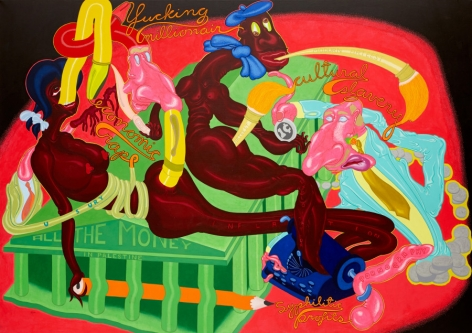 All the Money in Palestine, 1969, Acrylic on canvas, 68 x 96 inches,