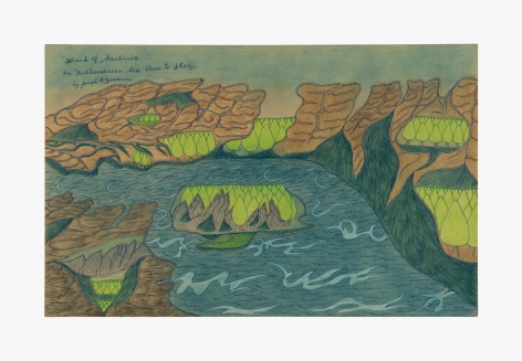 """Drawing by Joseph Yoakum titled """"Island of Sardinia In Mediterranean Sea Close to Italy"""" from 1966"""