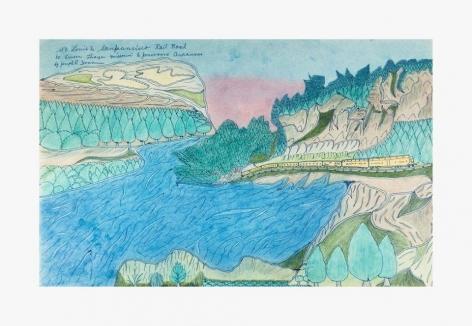 Joseph Yoakum, St. Louis & San Francisco Rail Road, n.d., color pencil, watercolor on paper, 12 x 183/4 in, 30.5 x 47.6 cm, (JYOA034)., COURTESY VENUS OVER MANHATTAN, NEW YORK.
