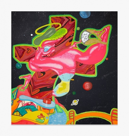 Painting by Peter Saul titled G.I. Christ