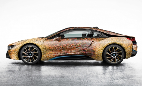 Garage Italia Customs BMW i8 painted with Giacomo Balla's Street Light, 2016