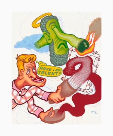 Work on paper by Peter Saul titled Have I Got Talent from 2020
