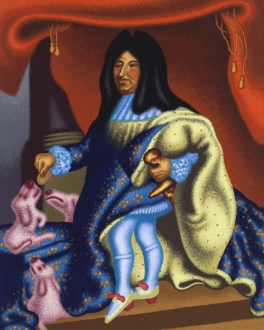 "Peter Saul, ""Louis XIV Feeds His Pets,"" 2015. Copyright Peter Saul. Courtesy of Mary Boone Gallery, New York."