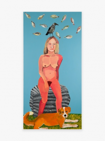 Painting by Joan Brown titled Garden of Eden Series #3: Sara as Eve, from 1970
