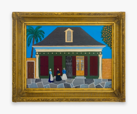 Painting by Andrew LaMar Hopkins, titled French Quarter Idle Gossip, from 2021