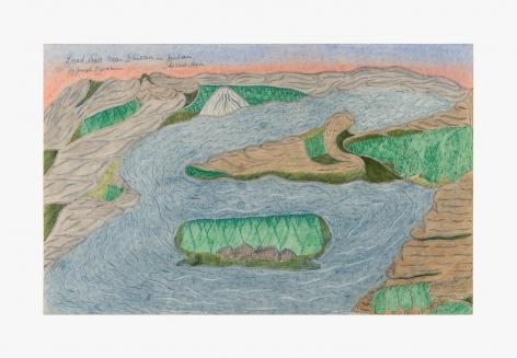 "Drawing by Joseph Yoakum titled ""Dead Sea near Dhioan in Jordan So East Asia"" from 1970"