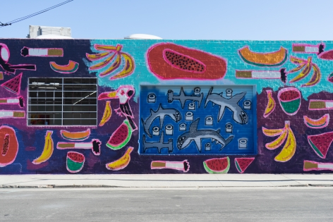 Installation view of Katherine Bernhardt: Fruit Salad, Venus Over Los Angeles, Los Angeles, 2015