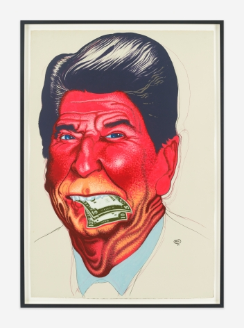 Peter Saul Ronald Reagan with Money in Mouth, 1984