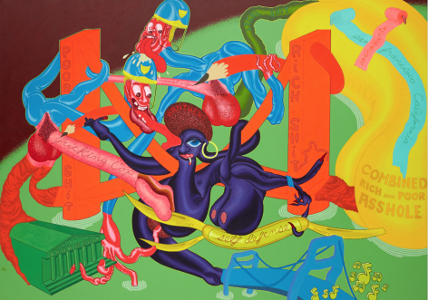 PETER SAUL, SELF DEFENSE, 1969, ACRYLIC ON CANVAS, 68″ X 96″.,