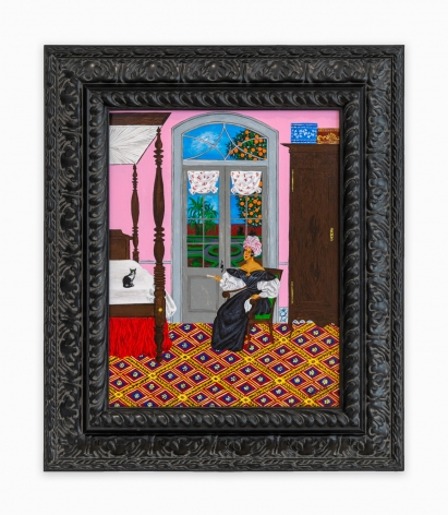Painting by Andrew LaMar Hopkins titled The Bed Chamber of Marie Catherine Laveau