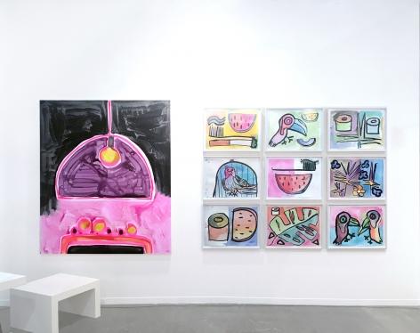 Installation view of Katherine Bernhardt and Sarah Braman, Zona Maco, Mexico City, 2016