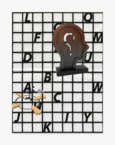 Asha Schechter Picture 059 (Picture 050 Pt. 2, Artistic Sculpture of Thought, Trivet_03, Character Cartoon Football, Alphabet Pattern on Silk)