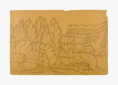 "Drawing by Joseph Yoakum titled ""Mt. Snohetta Near Andaisnes, Norway"" no date"