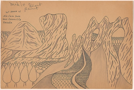 Drawing by Joseph Elmer Yoakum titled Mt Brock of Air Cave Pass Near Carson City Nevada from unknown year