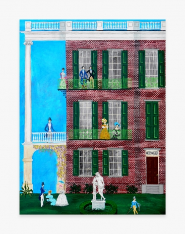Painting titled Greek Revival House Party by Andrew LaMar Hopkins