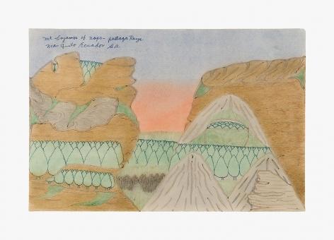 "Drawing by Joseph Yoakum titled ""Mt Cayambe of Napo – Pastaza Range near Quito Ecuador S.A."" from 1967"