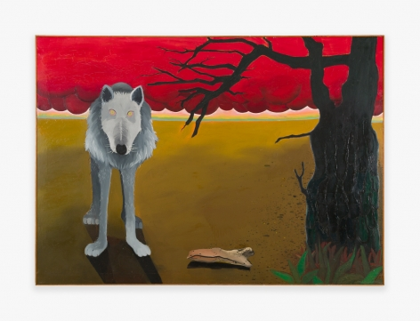 Painting by Joan Brown titled Grey Wolf with Red Clouds and Dark Tree from 1968