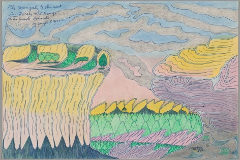 """Drawing by Joseph Yoakum titled """"The Open Gate to the West in Rockey Mtn Range near Pueblo Colorago"""" from 1966"""