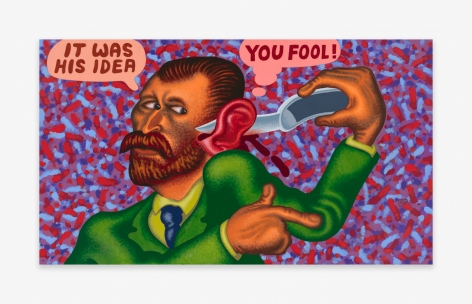 Painting by Peter Saul titled Van Gogh Cuts Off His Ear from 2021