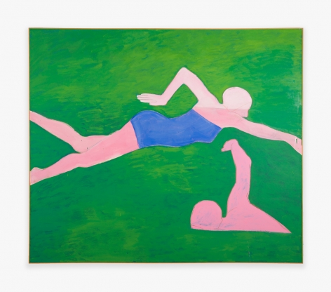 Painting by Joan Brown titled Swimmers #2 (The Crawl) from 1974