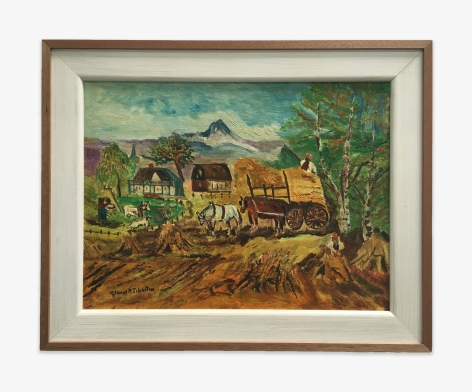 Gladys Johnston Haying Scene with Horses and Wagon, 1970