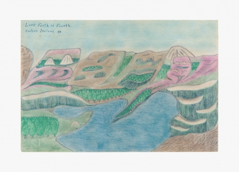 "Drawing by Joseph Yoakum titled ""Lake Ferth of Fourth Eastern Ireland. WE"" no date"