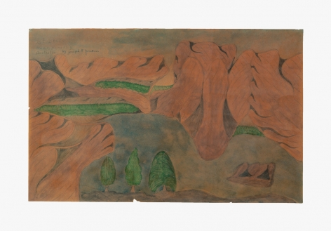 "Drawing by Joseph Yoakum titled ""Mt Bruce Near, Hamersly Australia"" from 1965"