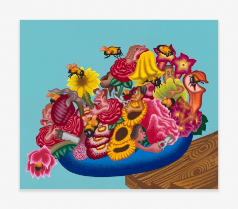 Painting by Peter Saul titled The World Is a Bowl of Flowers from 2020