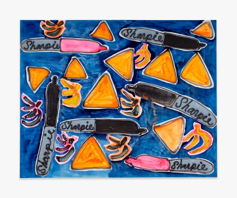 Katherine Bernhardt Plantains, Bananas, Doritos, and Sharpies