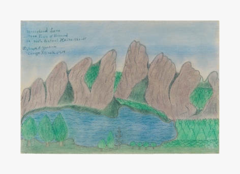 """Drawing by Joseph Yoakum titled """"Moosehead Lake near Town of Rockwood In North Central Maine"""" from 1965"""