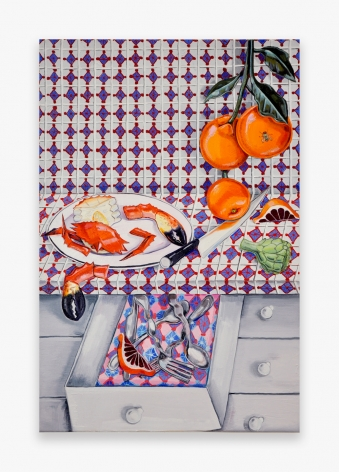 Painting by Nikki Maloof, titled Orange and Crab, from 2021