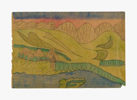 "Drawing by Joseph Yoakum titled ""King Leopold Range, Argyle Downs, Australia"" from 1969"