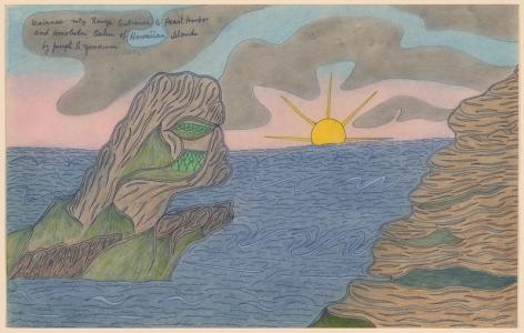 Drawing by Joseph Elmer Yoakum titled Waianae Mtn Range Entrance to Pearl Harbor and Honolulu Oahu of Hawaiian Islands from 1968.