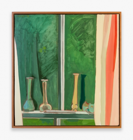 Painting by Lois Dodd, titled Still Life on the Window Ledge, from 1973
