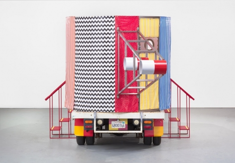 "PETER SHIRE, ""MR. TRUCK GOES TO COFFEE, OR THIS ONE'S FOR YOU,"" 2016. 1979, TOYOTA 1-TON FLATBED TRUCK, STAINLESS STEEL, VINYL COVERING."