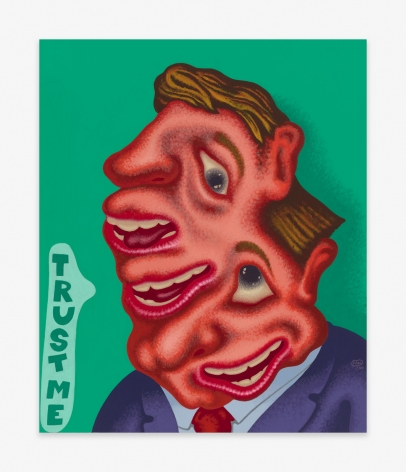 Painting by Peter Saul titled Trust Me from 2020