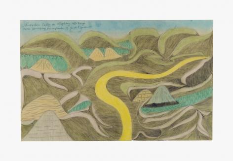 "Drawing by Joseph Yoakum titled ""Sweeden Valley in allegheny mtn Range near Harrisburg Pennsylvania"" from 1968"
