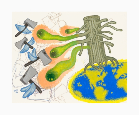 Work on paper by Peter Saul titled Nature Fights Back from 2020