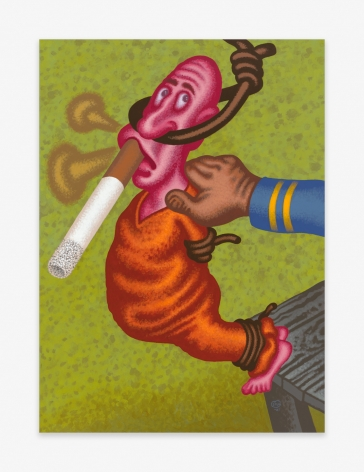 Painting by Peter Saul titled The Last Smoke from 2021
