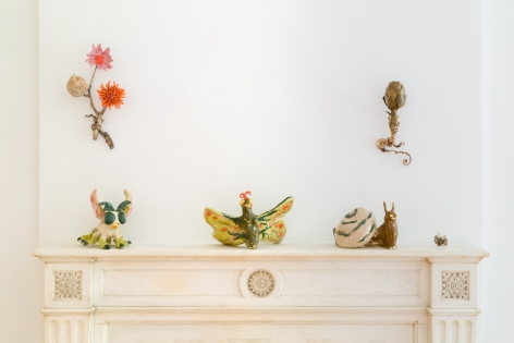 """Installation view of """"Katie Stout: Verdant Formations,"""" New York, 2021."""