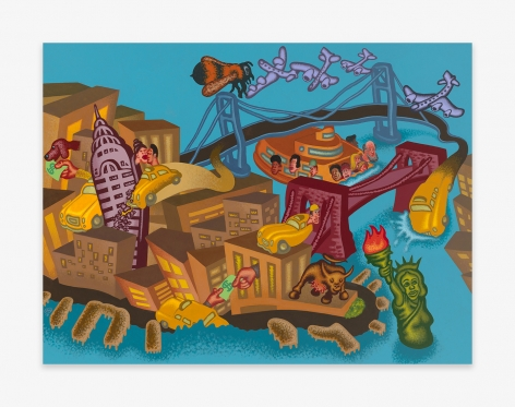 Painting by Peter Saul titled New York Number 2 from 2021