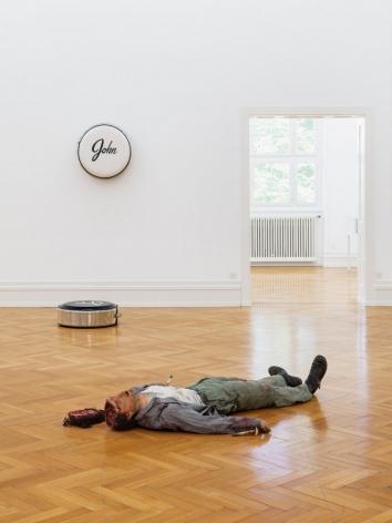 Installation image of Kunsthalle Bern Sie sagen wo Rauchen ist, ist auch Feuer featuring two works by John Dogg