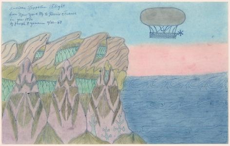 Joseph E. Yoakum,American Zeppolin Flight from New York City to Paris France in Year 1939(1969). Courtesy of the Art Institute of Chicago.