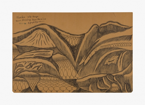"""Drawing by Joseph Yoakum titled """"Florida mtn Range near Deming new Mexico"""" from 1964"""