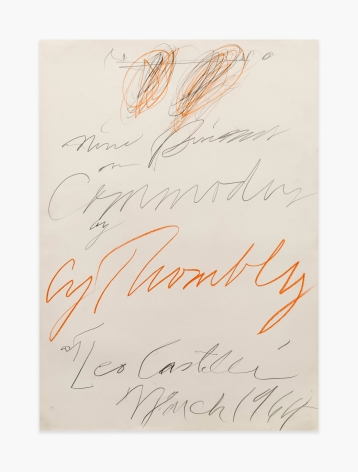 "Cy Twombly Poster Study for ""Nine Discourses on Commodus by Cy Twombly at Leo Castelli Gallery,"" 1964"